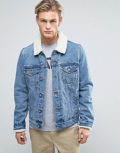 Read more about Asos denim jacket with borg collar in mid wash - blue