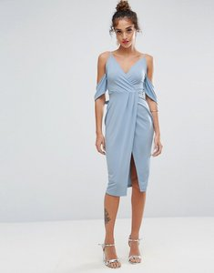 Read more about Asos crepe wrap front bardot midi dress - baby blue