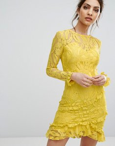 Read more about Prettylittlething lace asymmetric frill detail bodycon dress - yellow