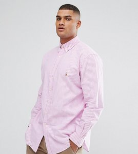 Read more about Polo ralph lauren tall oxford shirt in pink stripe - rose white