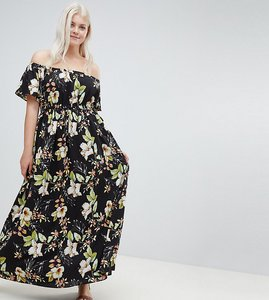Read more about Lovedrobe printed bardot maxi dress - black floral