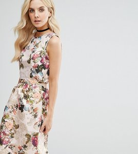 Read more about Miss selfridge petite floral jaquard sleeveless top - gold