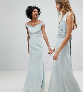 Read more about Maya bardot sequin detail maxi dress with bow back detail - ice blue