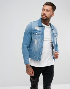 Read more about Hoxton denim extreme rip denim jacket in light wash - blue
