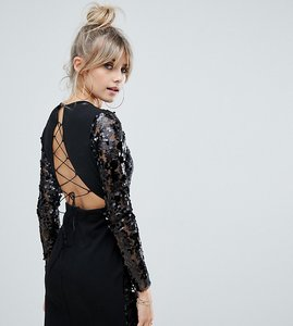 Read more about Boohoo long sleeve sequin bodycon mini dress with lace up back detail in black