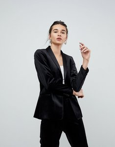 Read more about Asos premium velvet tux blazer - black