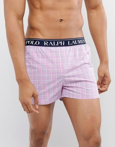 Read more about Polo ralph lauren slim fit woven boxers logo waistband in red small check - palm beach plaid