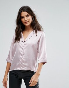 Read more about Goldie wild flower satin blouse with scalloped collar and 3 4 sleeves - pink