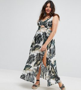 Read more about Asos curve beach maxi dress with strap detail in palm print - multi