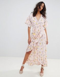 Read more about Moon river ditsy floral wrap maxi dress - pink floral