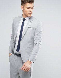 Read more about Asos skinny suit jacket in pale grey - grey