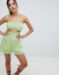 Read more about Asos design cami playsuit with cut out detail in linen - sage