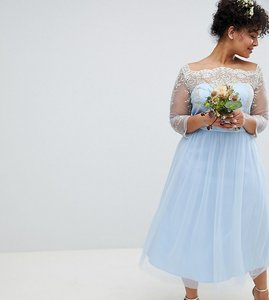 Read more about Chi chi london plus bardot neck midi dress with premium lace and tulle skirt - bluebell gold