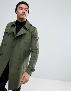 Read more about Asos shower resistant double breasted trench in khaki - green