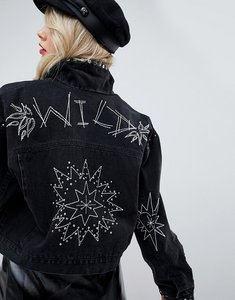Read more about Asos design denim jacket in washed black with studs and embroidery - washed black