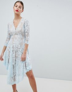Read more about Forever unique lace dipped hem dress - blue