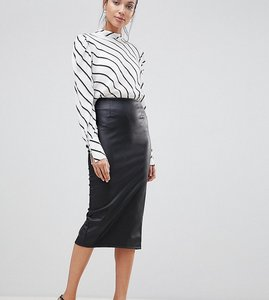 Read more about Asos design tall sculpt me leather look midi skirt - black