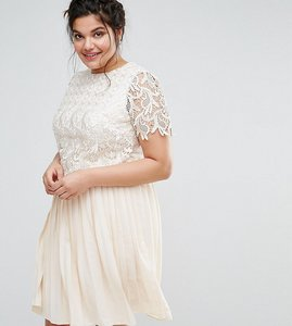 Read more about Little mistress plus premium lace overlay midi dress with pleated skirt - cream