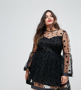 Read more about Asos curve star mesh fluted sleeve mini skater dress - black