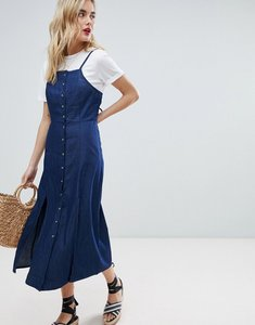 Read more about Warehouse cami strap split front chambray dress - dark wash