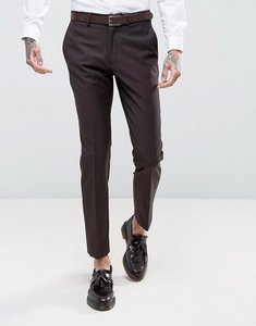 Read more about French connection slim fit plain burgundy suit trousers - red
