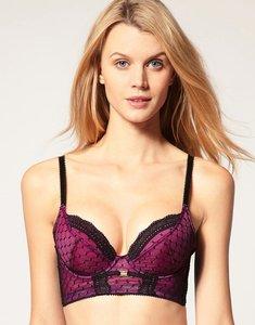 Read more about Gossard sassy geo fishnet long line bra - purple