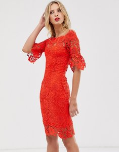 Read more about Paper dolls off shoulder crochet dress with frill sleeve - red