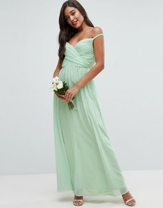 Read more about Asos wedding ruched bardot strap maxi dress - green