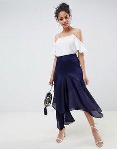 Read more about Asos design satin tiered asymmetric hem midi skirt - navy