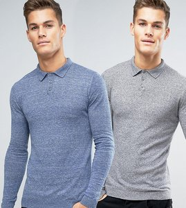 Read more about Asos 2 pack knitted muscle fit polo in blue grey save - denim grey marl