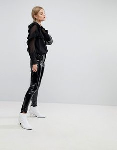 Read more about Mango vinyl skinny trousers - black