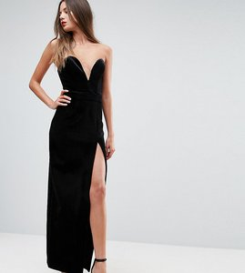 Read more about Ttya black structured bandeau maxi dress with high thigh split - black velvet
