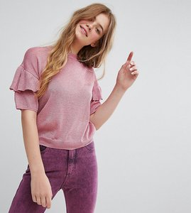 Read more about Monki knitted ruffle short sleeve jumper - pink