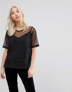Read more about B young sheer panel blouse - black
