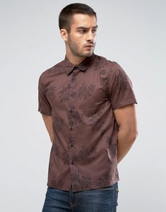 Read more about New look regular fit shirt with floral print in brown - brown pattern