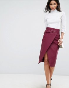 Read more about Asos leather look midi pencil skirt with belt detail - burgundy