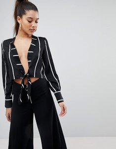 Read more about Prettylittlething tie front stripe cropped blouse - black