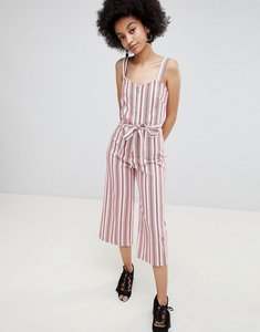 Read more about Miss selfridge stripe culotte tie waist jumpsuit - red stripe