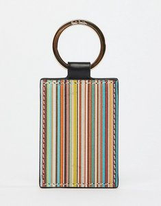 Read more about Paul smith leather classic stripe keyring in black