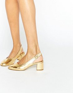 Read more about Asos starlight leather mid heels - gold