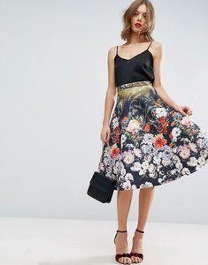 Read more about Asos scuba prom skirt in snake floral print - multi