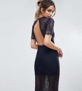 Read more about Love triangle eyelash lace midi dress with open back - navy