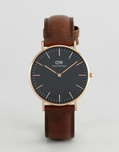 Read more about Daniel wellington dw00100137 classic black bristol leather watch in brown 36mm - brown