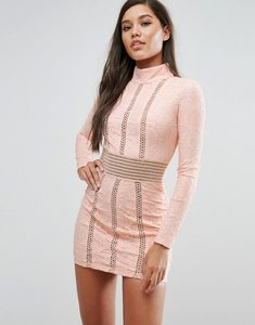 Read more about Rare london mesh insert lace pencil dress - pink nude