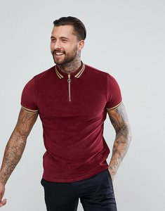Read more about Asos polo shirt in towelling with gold metallic tipping - red