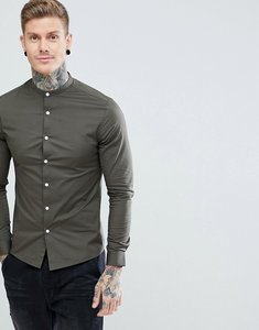 Read more about Asos design skinny shirt with grandad collar in khaki - khaki