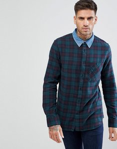 Read more about New look check shirt with denim collar in green - green pattern