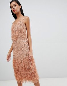 Read more about Asos design feather trim sequin midi dress - mink