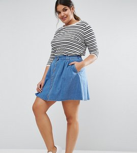 Read more about Asos curve denim button front mini skater skirt in mid wash blue - midwash blue