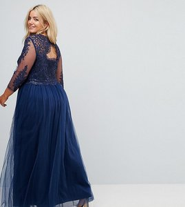Read more about Chi chi london plus high neck maxi with cut out lace back detail - navy